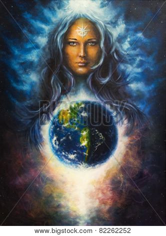 Woman in space, Mighty Loving Guardian And Protective, stars on forehead,eye contact