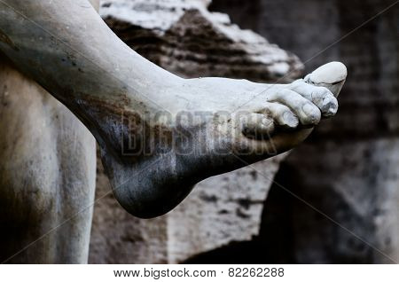 Detail Of The Foot Of Statue In Bernini's Fountain