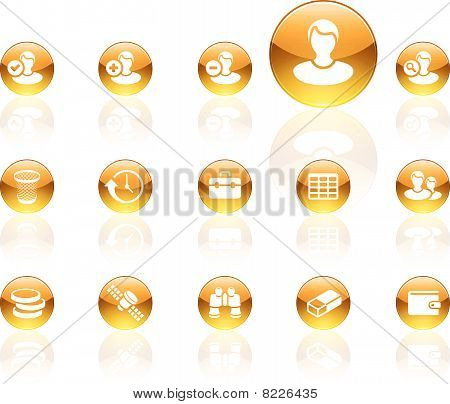 White on yellow aqua icons