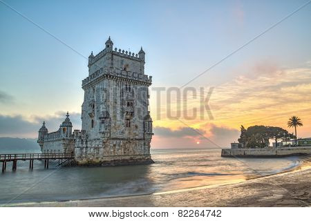 Lisbon, Portugal, Europe - view of the belem tower at sunset (national portuguese monument)-long exposure