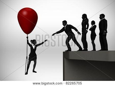 Recruiting executive on balloon.