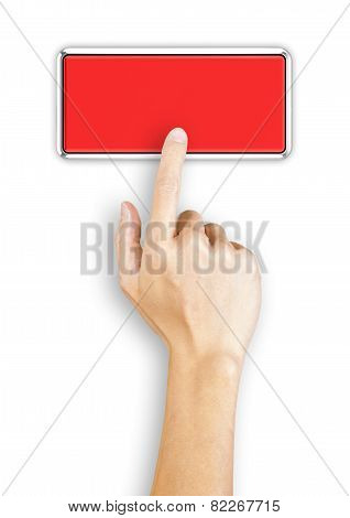 Hand clicking a red button, top view