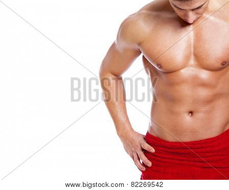 Fit man in towel, isolated on white background