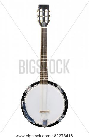 The image of white banjo isolated under the white background