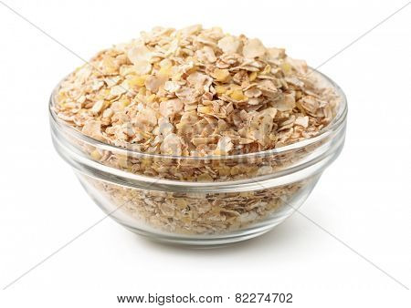 Bowl of  multi grain flakes isolated on white