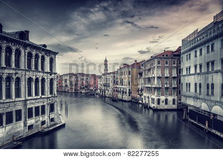 Beautiful Venice cityscape, vintage style photo of a gorgeous water canal, traditional Venetian street, romantic vacation to  Italy, fine art photo
