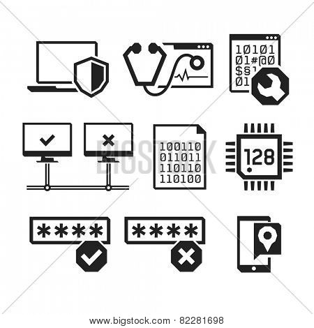 Computer repair icons set 03  // BW Black & White