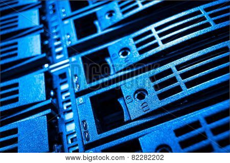 close-up of hard drives in data center