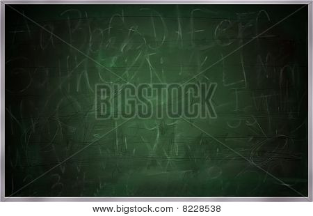 Raster illustration of a large school green board or blackboard. Remnants of letters numbers and words can be seen partially erased along with scratch marks and dusty areas faint remainders of past lessons. Good background image. poster