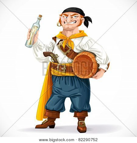 Cute Pirate With A Barrel Of Rum And A Bottle With A Letter Isolated On A White Background