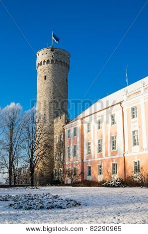 View Of The Tower Long Herman And The Parliament Building In Tallinn