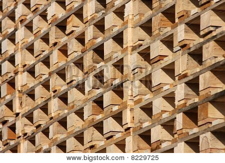 Structure And Texture Of Wooden Pallets In Stock