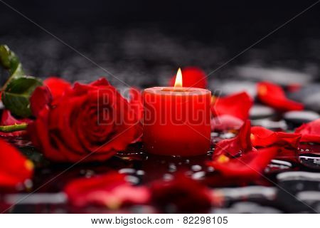 Valentines Day background-red rose with red candle