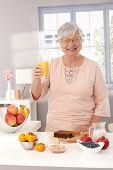 Happy old lady drinking orange juice, preparing healthy breakfast, smiling, looking at camera. poster