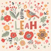 Bright card with beautiful name Leah in poppy flowers, bees and butterflies. Awesome female name design in bright colors. Tremendous vector background for fabulous designs poster