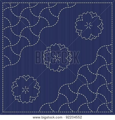 Sashiko motif - blooming cherry flowers and waves. Seamless pattern.