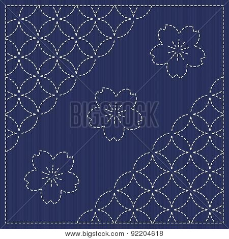 Endless texture. Japanese Embroidery Ornament with circles and blooming sakura flowers.