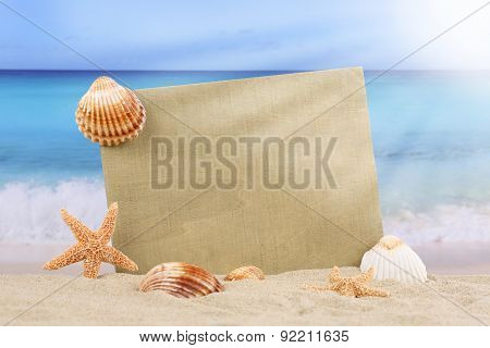 Beach Scene In Summer With Sea Shells, Stars And Copyspace