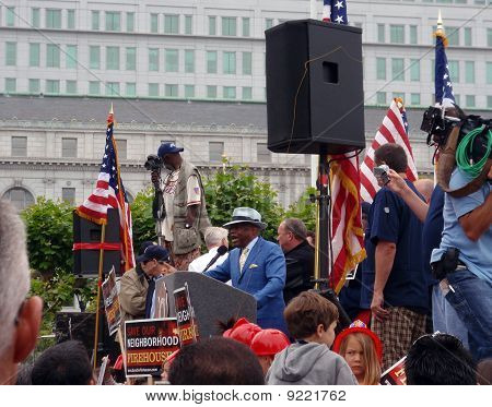 Former Mayor Of San Francisco Willie Brown Speaks At A Public Services Rally