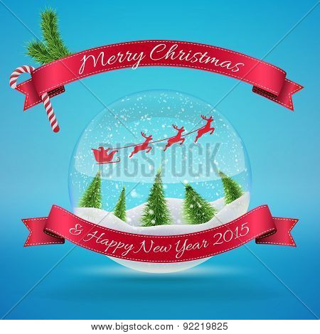 Merry Christmas Glass Snow Ball with xmas tree and happy new year greeting. Vector illustration for