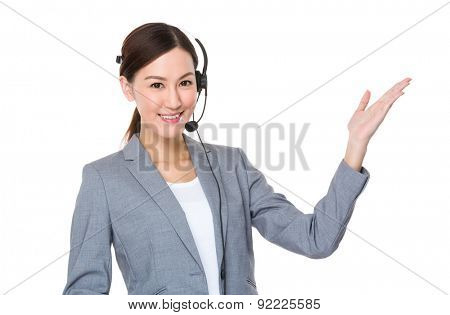 Customer services with headset and open hand palm