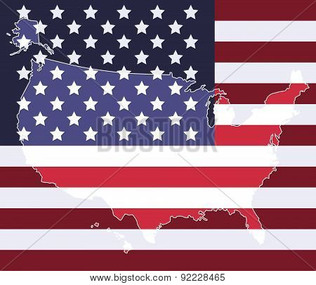 United states map on the national flag element background