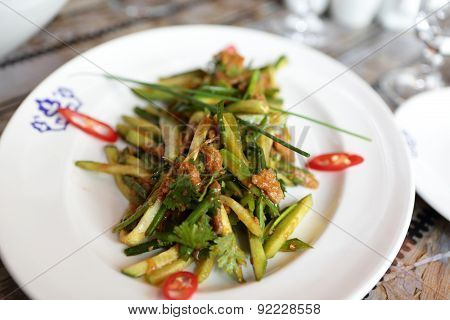 Plate With Cucumbers And Meat