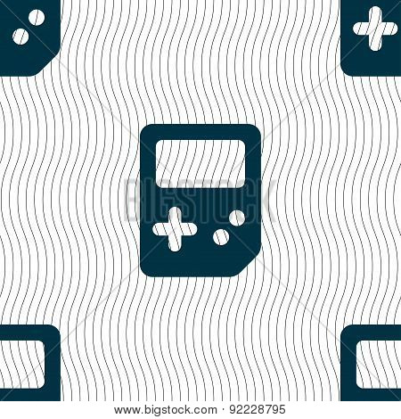 Tetris Icon Sign. Seamless Pattern With Geometric Texture. Vector