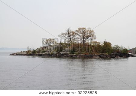 Thousand Islands In Kingston Ontario Area In Foggy Day