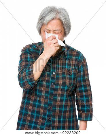 Asian mature woman runny nose