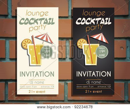 Lounge cocktail party flyer invitation template with Screw driver cocktail. Vintage design for bar o