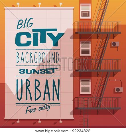 Sunset city. Banner on a wall. Vector illustration.