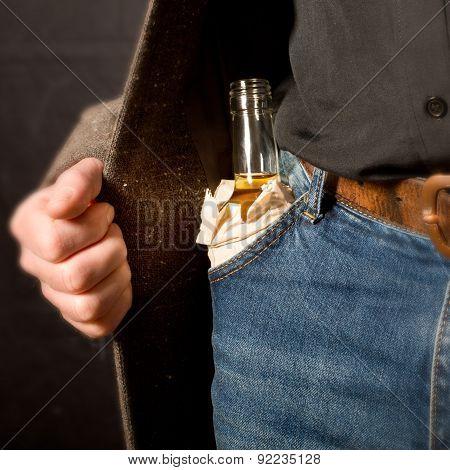 Hard Drinker Hiddes A Bottle