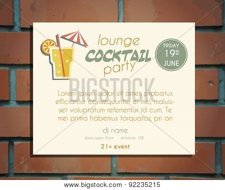 Lounge cocktail party poster invitation template with Screw driver cocktail. Bright Vintage design f