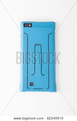 BlackBerry Leap back in blue phone case