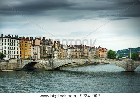 view from river Sona to the Bonaparte bridge and Lyon city, France