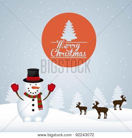 christmas design over  snowscape background vector illustration