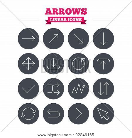Arrows linear icons set. Thin outline signs. Vector