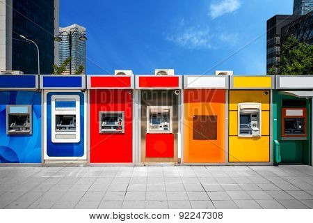 Cashpoint with colorful bankomats