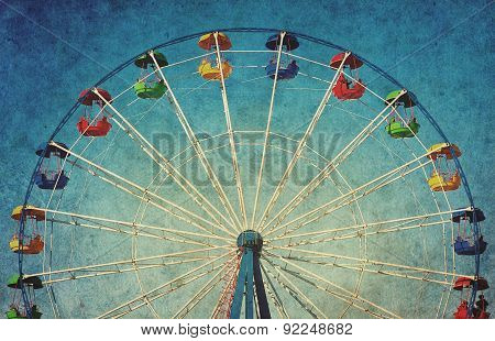 Vintage Grunge Background With Ferris Wheel
