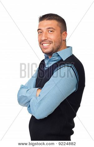 Smiling Executive Man With Arms Folded