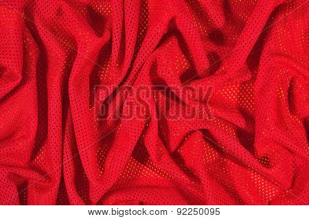 Red Crumpled  Nonwoven Fabric On A Yellow