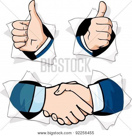thumb up - hands gesturing peering out of a hole in a paper poster