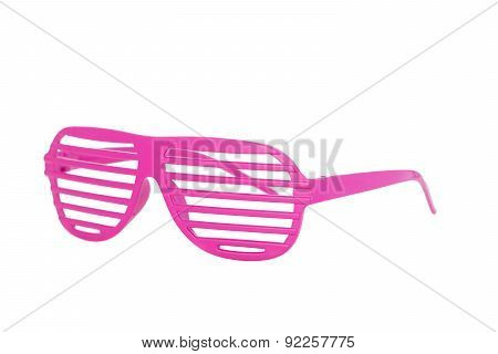 Pink 80's Glasses Isolated On White Background