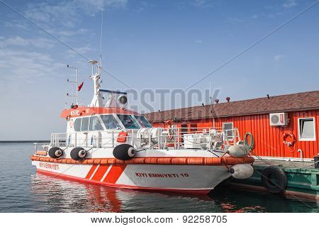 Red And White Fire Boat Stands Moored In Izmir