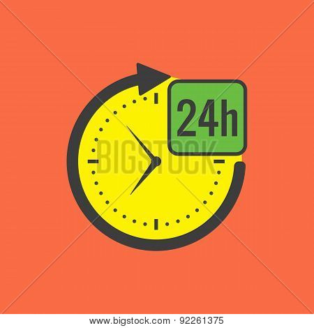 24 Hours Service Concept. Flat Design.