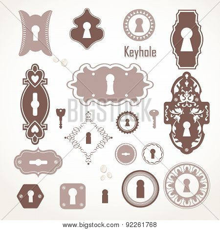 Vector Illustration Of Vintage Keyholes & Keys.