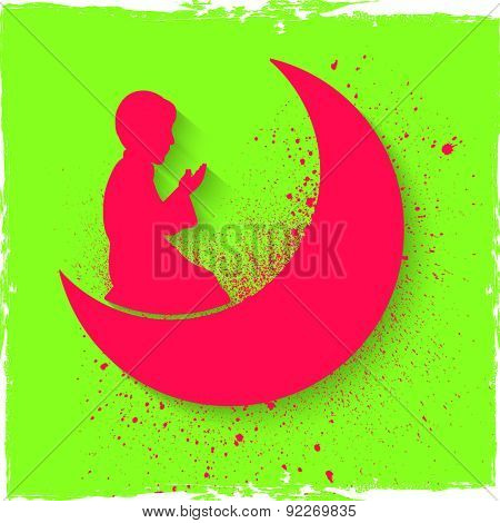 Pink silhouette of a religious Muslim boy offering Namaz (Islamic Prayer) in front of crescent moon on shiny green background for holy month of Muslim community, Ramadan Kareem celebration.
