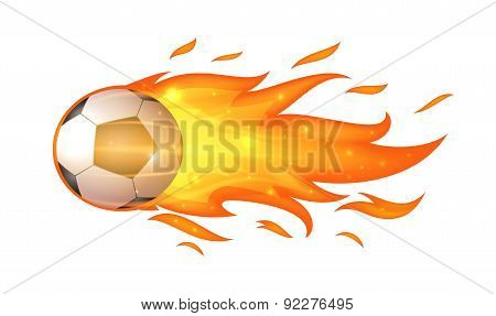 Flying soccer ball with flames