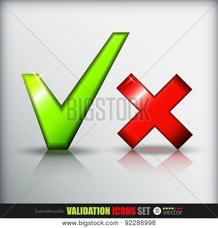 Validation icons set.  Green and red. .Vector Illustration.